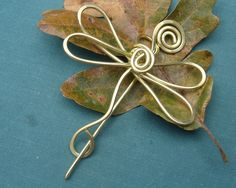 Dragonfly Spiral Shawl Pin , Scarf Pin or Brooch - Brass Wire. $20.00, via Etsy.