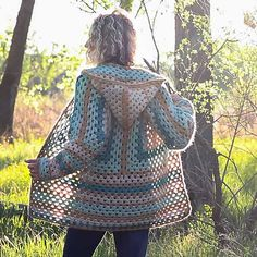 The construction of this crochet hexagon sweater is what makes it so fun. Can you spot the two granny hexagons?