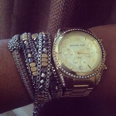 #stelladot arm party - Luna Wrap & Sole bracelets paired with statement watch. Get your arm candy at www.stelladot.com/kaylynmonk