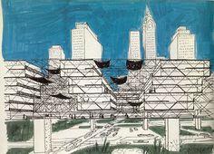 Yona Friedman, Ville Spatiale, Manhattan, 1964.