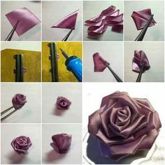 How To Make Purple Ribbon Rose Step By DIY Tutorial Instructions Thumb
