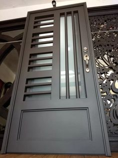 63 Ideas For Grill Door Design Gates Grill Gate Design, House Main Gates Design, Steel Gate Design, Window Grill Design, Door Gate Design, Front Door Design, Iron Front Door, Iron Doors, Balcony Glass Design