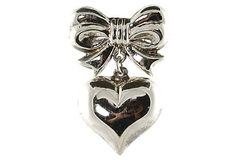 Sterling Silver Heart Bow Pin Brooch by Yourgreatfinds on Etsy