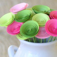 Pink and green paper flower centerpiece. love these colors