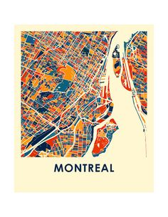Montreal map print poster by iLikeMaps. Print illustrates the geography and patterns of this great metropolis.