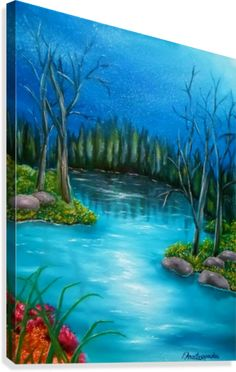 Painting,   nature,forest,river,scene,  blue,turquoise,beautiful,image,fine,oil painting,contemporary,scenic,modern,virtual,deviant,wall art,awesome,cool,artistic,artwork,for sale,home,office,decor,decoration,decorative,items,ideas,pictorem,pinterest