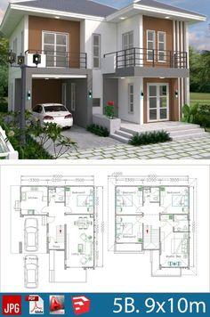2 Storey House Design, Duplex House Plans, Simple House Design, Bungalow House Design, Dream House Plans, Small House Plans, Modern House Design, House Floor Plans, Dream Houses