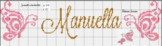 Borboletas nome Manuella ponto cruz, butterfly cross stitch, monocromático
