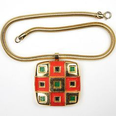lanvin gold red black green necklace