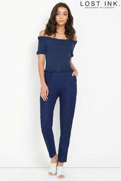 ebb34c74af55 Lost Ink Denim Bardot Jumpsuit Size UK 14 LF078 AA 14  fashion  clothing