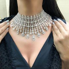 The necklace is a little off center, but so am I, so it works! 😉 Loving this diamond choker. so elegant and such a statement! Diamond Choker Necklace, Diamond Bracelets, Diamond Jewelry, Cartier Bracelet, Circle Necklace, Diamond Pendant, Beaded Jewelry, Jewelry Box, Silver Jewelry