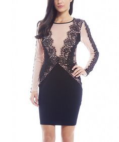 Loving this Black & Nude Lace Bodycon Dress on #zulily! #zulilyfinds