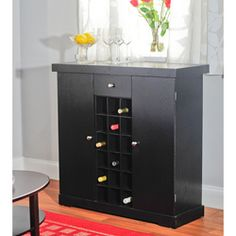 Simple Living Black Wine Storage Cabinet - Overstock™ Shopping - Big Discounts on Simple Living Buffets