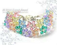 Crystal Bracelet, Sweet Berry Multiflora Swarovski Crystals with Flower Magnetic Clasp by CandyBead on Etsy, Seed Bead Bracelets, Crystal Bracelets, Crystal Jewelry, Crystal Beads, Swarovski Crystals, Swarovski Bracelet, Swarovski Jewelry, Beaded Bracelet Patterns, Bead Jewellery