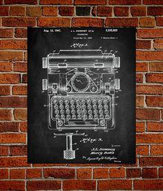 Typewriter Art Print Typewriter Patent by PatentPrintsUSA on Etsy