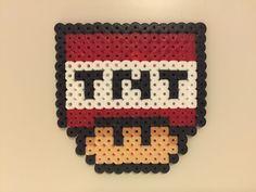 perler bead mushroom TNT - by Bjrnbr Fuse Bead Patterns, Perler Patterns, Beading Patterns, Stitch Patterns, Mario Hama, Mario Crafts, Peler Beads, Diy Perler Beads, Fusion Beads