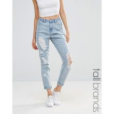 Missguided Tall Rip Mom Jean (£41) ❤ liked on Polyvore featuring jeans, blue, high-waisted jeans, high waisted destroyed jeans, high waisted jeans, blue high waisted jeans and slim jeans