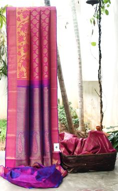 RAVISHED SHADES OF PINK HAS GOLD ZARI BUTTAS ALL OVER IS BLENDED WITH PINK AND PURPLE WITH GOLD ZARI BORDER AND PALLU GIVING THE SAREE SPECTACULAR FINISH. Silk Saree Kanchipuram, Kanjivaram Sarees, Silk Sarees, Beautiful Saree, Beautiful Outfits, Lahenga, Indian Outfits, Indian Attire, Saree Styles