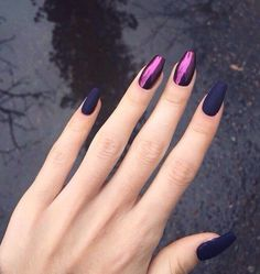 Matte Purple Mixed with Shiny Purple Nails