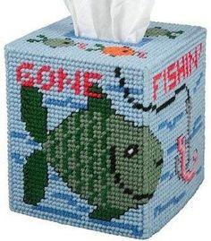 Gone Fishin' Plastic Canvas Kit - tissue box cover Plastic Canvas Tissue Boxes, Plastic Canvas Crafts, Plastic Canvas Patterns, Tissue Box Holder, Tissue Box Covers, Canvas Art Projects, Yarn Storage, Kleenex Box, Baby Afghan Crochet