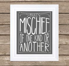 Items similar to Where The Wild Things Are - Make Mischief of One Kind or Another - Typography Poster Inspirational Poster Motivational Poster on Etsy Inspirational Posters, Motivational Posters, Poster Making, Typography Poster, Poster On, Jelsa, Boy Room, Kids Room, Future Baby