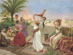 Dancing the Raks Baladi on a Terrace, Egypt. Fabio Fabbi   (Italian, 1861–1946) oil on canvas.
