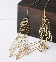 Modern Geometric Cube - Optical Art- Hand craft Necklace. $34.00, via Etsy.