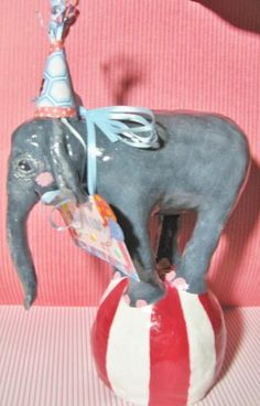 Birthday Cake Topper Baby Circus Elephant keepsake by merrygifts,