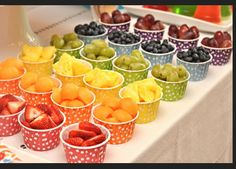 jelly bean rainbow birthday party fruit cups {BN Black Book of Parties} Rainbow Jelly Bean Party Rainbow Jelly, Rainbow Fruit, Rainbow Snacks, Rainbow Theme, Colorful Fruit, Rainbow Candy Buffet, Kids Rainbow, Colorful Party, Rainbow Colors