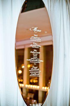 Mirror, Mirror on the Wall: #wedding #menu printed on #mirror