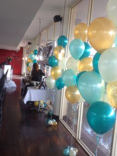 In pearl teal, mint green, gold and Ivory 13th Birthday Parties, 50th Party, Grad Parties, 26 Birthday, Gold Balloons, Helium Balloons, Gold Party Decorations, Baby Shower Decorations, Baby Shower Themes