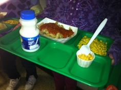 Jill - This lunch is: whole grain pasta with turkey meat sauce, white milk and corn