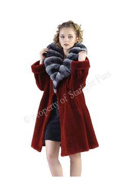 fur coats for woman > red fur coats Chinchilla, Red Fur, Shearing, Collar Styles, Picture Show, Coats For Women, Fur Coats, Factors, Monitor