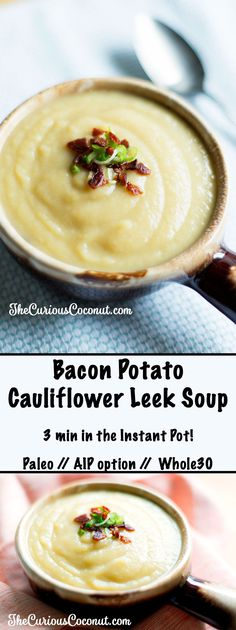 "Bacon Potato Cauliflower Leek Instant Pot Soup (Paleo, AIP option) Dinner in under 30 minutes? The Instant Pot shines in this fast, easy, AIP-friendly bacon potato (or ""potato"") cauliflower leek soup made with bone broth. Leek And Cauliflower Soup, Leek And Bacon Soup, Bacon Potato, Leek Soup, Sweet Potato, Paleo Recipes Easy, Real Food Recipes, Soup Recipes, Kitchen Recipes"