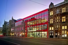 Eden Amsterdam American Hotel with Various Room Types : Stunning Exterior Design With Red Accent Color In Eden Amsterdam American