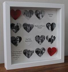 Personalised anniversary gift. Bespoke 16 heart anniversary frame. 3D photo collage. £20.00, via Etsy.