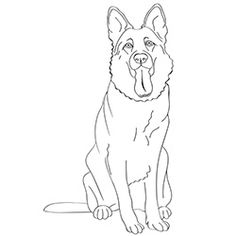 free printable dogs and puppies coloring pages for kids - German Shepherd Coloring Pages Free 3