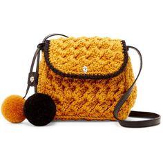 Helen Kaminski Rada Faux Fur Pompom Crossbody (275 BGN) ❤ liked on Polyvore featuring bags, handbags, shoulder bags, cross body, strap purse, crossbody purses, pom pom handbag and yellow cross body purse