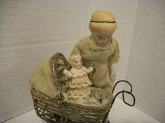 Antique German Dollhouse Bisque Nursemaid & Baby W/ Antq German Carriage !CUTE!!   eBay