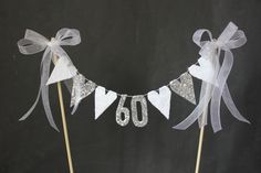 60th Diamond Wedding Anniversary cake topper, suitable for 60th birthday cake topper, white lace and diamonte hearts with diamond numerals by SoLuvli on Etsy
