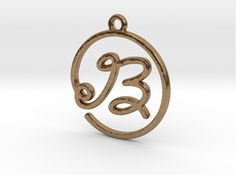 B Script Monogram Pendant by Jilub