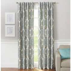 Better Homes and Gardens Persian Damask with Room-Darkening Lining Rod Pocket Window Panel, Blue Elegant Curtains, Colorful Curtains, Rod Pocket Curtains, Panel Curtains, Curtain Panels, Bedroom Curtains, Blackout Curtains, Bungalow, Floral Room