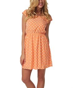 Take a look at this Orange & White Polka Dot Cap-Sleeve Dress on zulily today!