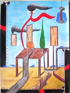 Danza di simboli, 2013  disegno a penna e acquerello, cm 24x32 , Pasquale Mastrogiacomo, Acerno (SA). sito web www.pasqualemastrogiacomo.it