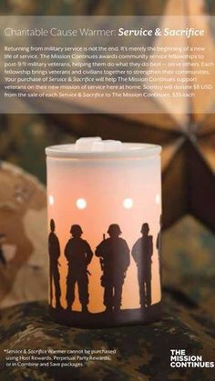 #WarmerWednesday  The wait is OVER! You can now purchase your Service & Sacrifice warmer!!  Just click on this link & it will take you to it. https://itsheavenly.scentsy.us/Scentsy/Buy/ProductDetails/23177   Because this cause is so NEAR & DEAR to my family & I. I have made a personal goal to sell at least 10 each month! Can you help me?  PS: Please share with your friends & family!