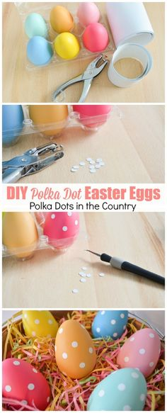 DIY Polka Dot Easter Eggs. Great way to use leftover vinyl from your Silhouette Cameo or Cricut machine! Easter DIY. Easter egg decor. Easter egg ideas. Polka Dots.