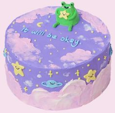 Pretty Birthday Cakes, Pretty Cakes, Cake Birthday, Funny Birthday Cakes, Korean Cake, Pastel Cakes, Cute Baking, Frog Cakes, Cute Desserts