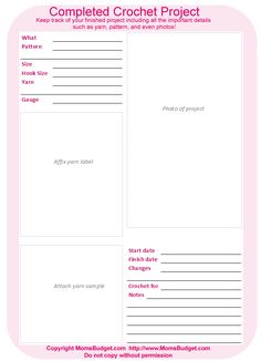 """crochet project sheet   Click here to print out this """"Completed Crochet Project"""" sheet."""