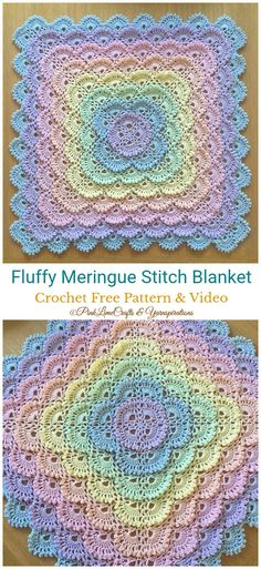 Fluffy Meringue Stitch Blanket Crochet Free Pattern - Never Ending Square ; Crochet Blanket Border, Crochet Baby Blanket Free Pattern, Crochet Borders, Free Crochet, Crochet Patterns, Crocheted Baby Blankets, Crochet Stitches For Blankets, Granny Square Blanket, Needlepoint Stitches