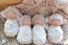 Lamby Bugs! Sweet sleepy Easter lambs! http://hyenacart.com/stores/ladybirddollstudio/